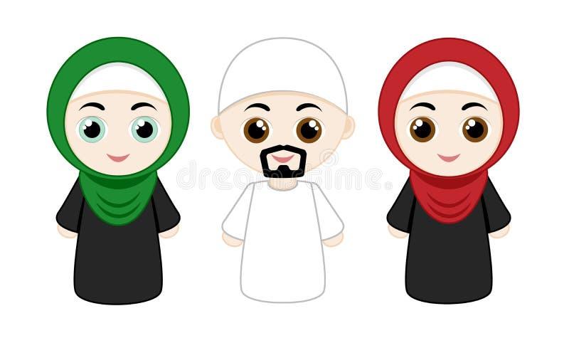 Set of muslim people royalty free illustration
