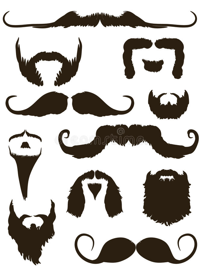 Set of mustache and beard silhouettes. Collection of beard and mustache silhouettes stock illustration