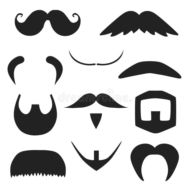 Set of mustache and beard silhouettes royalty free illustration