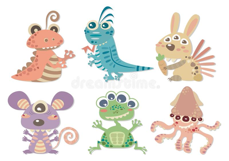Set of Mutant Species. Set of mutant animals vector cartoon isolated on white background. The mutant species including snail, lizard, bunny, mouse, frog, and stock illustration