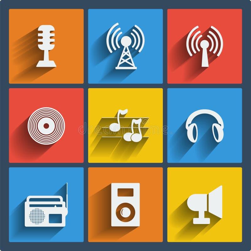 Set 9 muzyczna sieć i mobilne ikony. Wektor. ilustracji