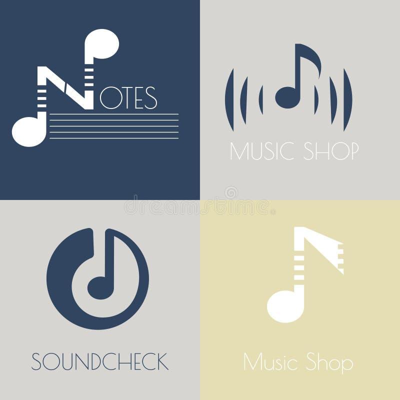 Set muzyczni płascy logowie ilustracja wektor