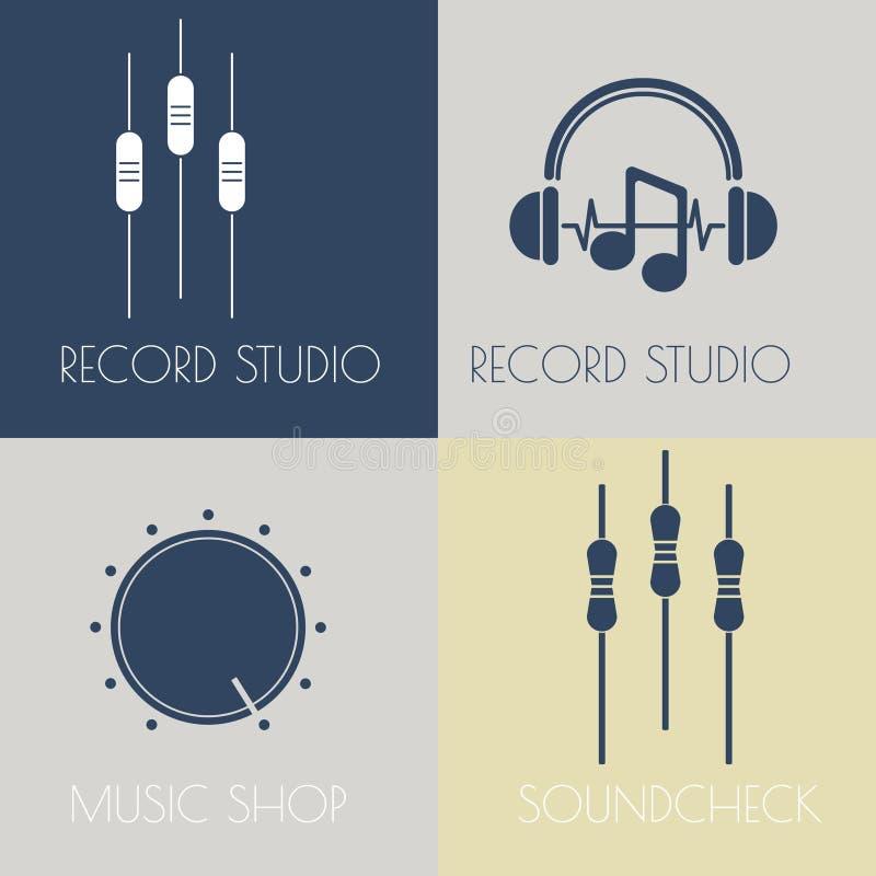 Set muzyczni płascy logowie royalty ilustracja