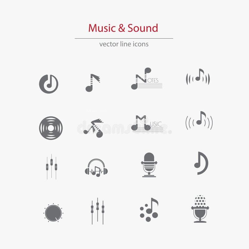 Set muzyczny płaski logosÂŒ royalty ilustracja