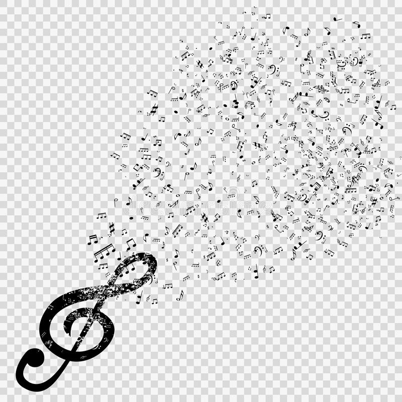 Set muzykalne notatki z treble clef na przejrzystym tle royalty ilustracja