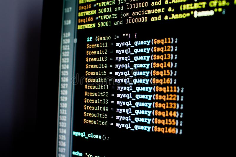 Set of mysql queries in a database management software. Querying stock photo