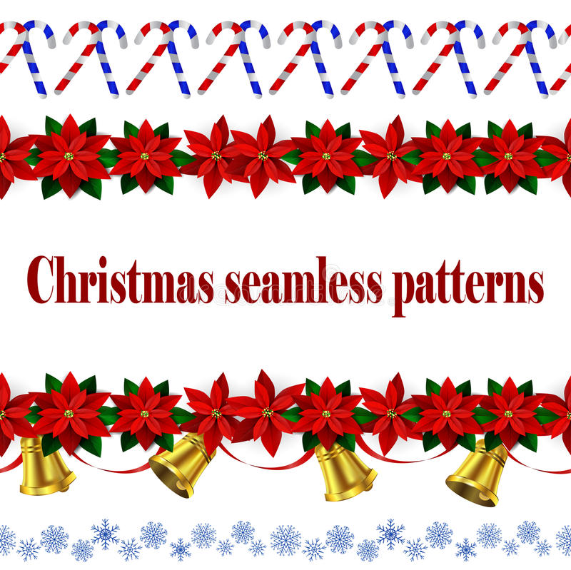 Set of n Seamless Christmas borders. Set of Seamless borders Bright Fun Christmas Winter Holidays Patterns with poinsettia and green holly and berries and stock illustration