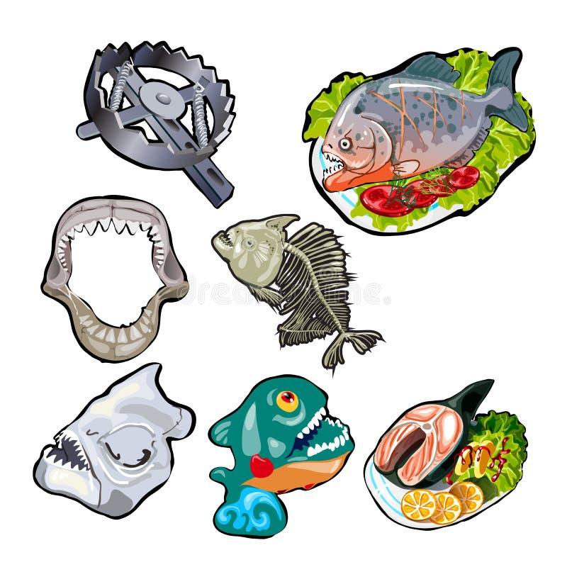 Set na temacie toothy ryba Posiłki piranha i rekiny Kościec, szczęka, czaszka antyczna ryba Niedźwiadkowy oklepiec ilustracja wektor