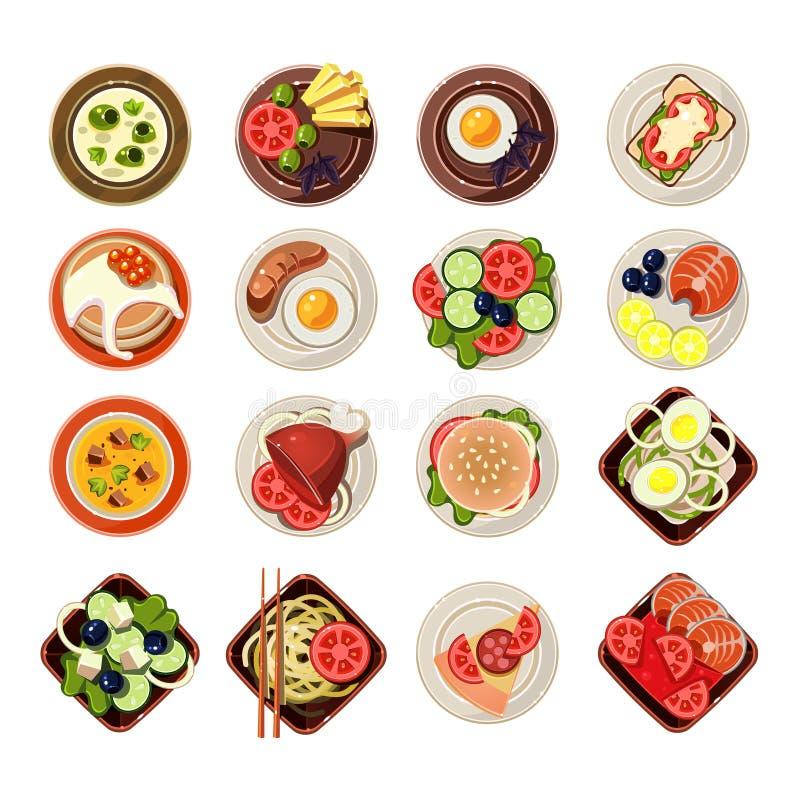 Set naczynia z Różnorodnym jedzeniem wektor ilustracji