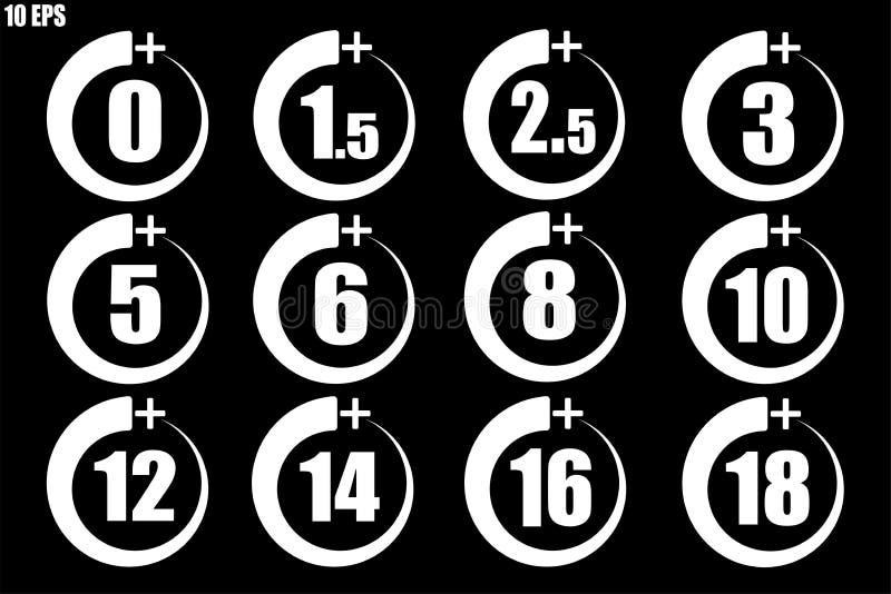 Set nadmiernego niektóre yaers ikon starego bielu cienka linia - wektor ilustracji