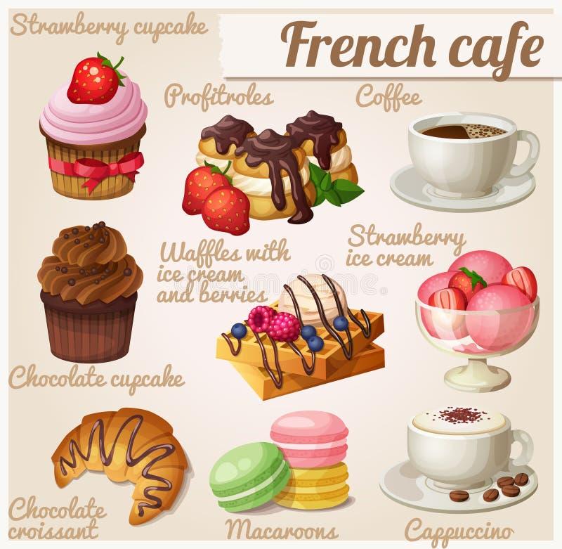 Set Nahrungsmittelikonen Französisches Café Schokoladen-kleiner Kuchen mit Gabel stock abbildung