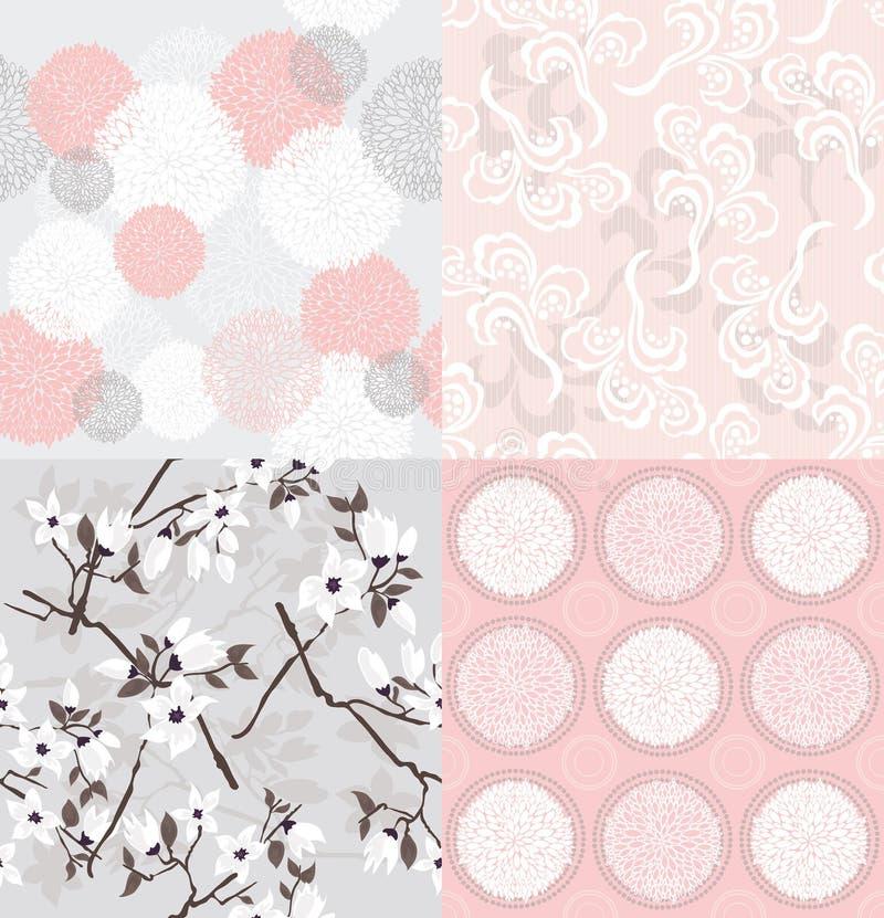 Set nahtlose Blumenmuster lizenzfreie abbildung