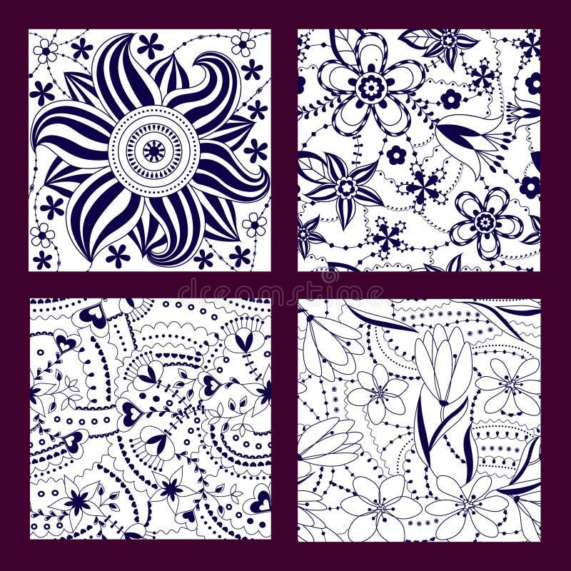 Set nahtlose mit Blumenmuster vektor abbildung