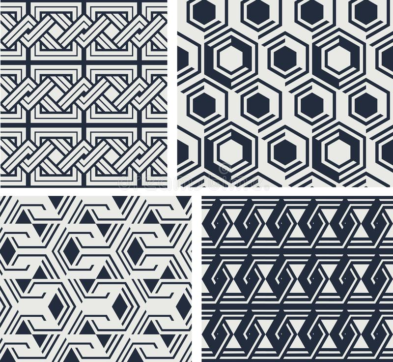 Set nahtlose Muster Abstrakte geometrische Hintergrund-Vektor-Illustration lizenzfreie abbildung