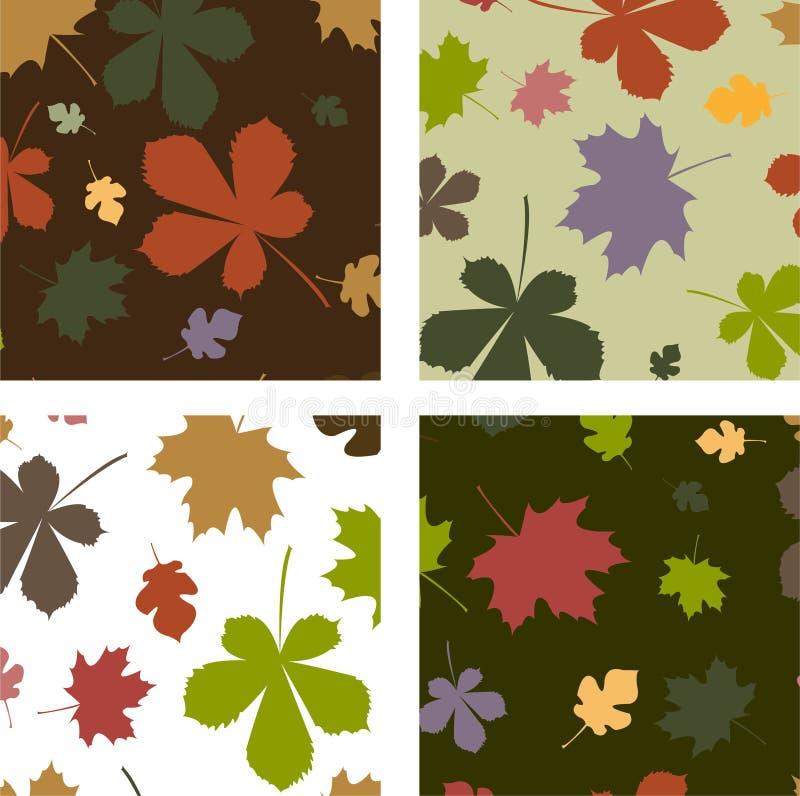 Set nahtlose Muster mit Herbstlaub vektor abbildung