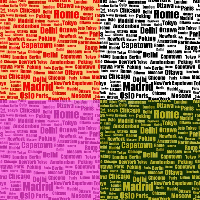 Set nahtlose Muster mit Stadtnamen lizenzfreie abbildung