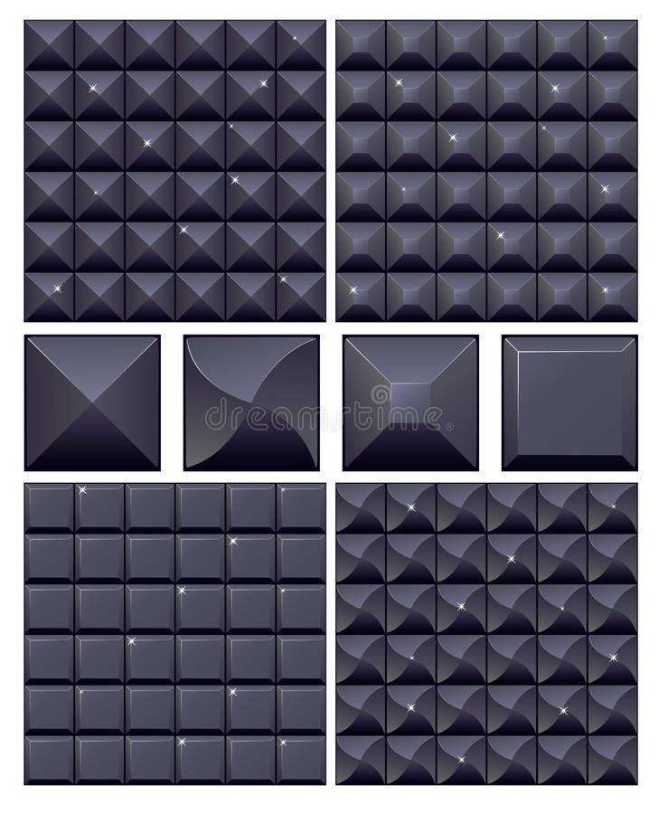 Set nahtlosen schwarzen Mosaiks 4 stock abbildung