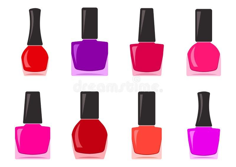 Set of nail polish bottle. Vector illustration royalty free illustration