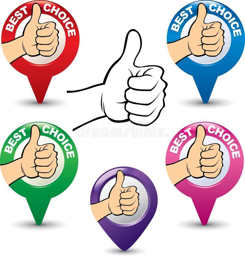 Set najlepszy wyborowa ręka z kciukiem up ilustracji