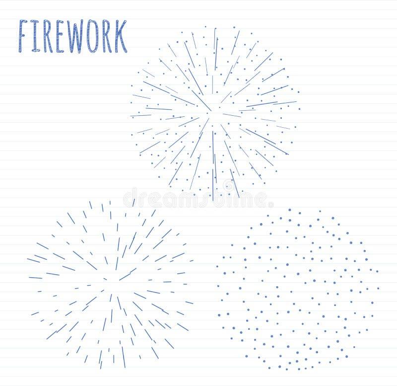 Set nakreślenie świąteczny fajerwerk pęka w różnorodnym lśnieniu kształtuje abstrakcjonistyczną ilustrację ilustracji