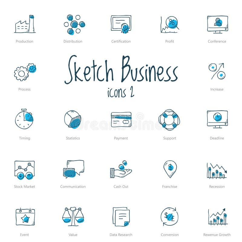 Set nakreślenie biznesowe ikony z błękita akcentem royalty ilustracja