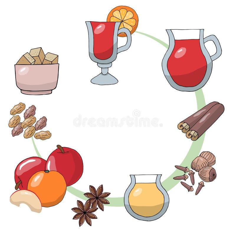 Set nakreślenie rysunki składniki rozmyślali wino Rozmyślająca wino pomarańcze, zapał, nutmeg, cynamonowy kij, cloves, anyż, rodz ilustracji