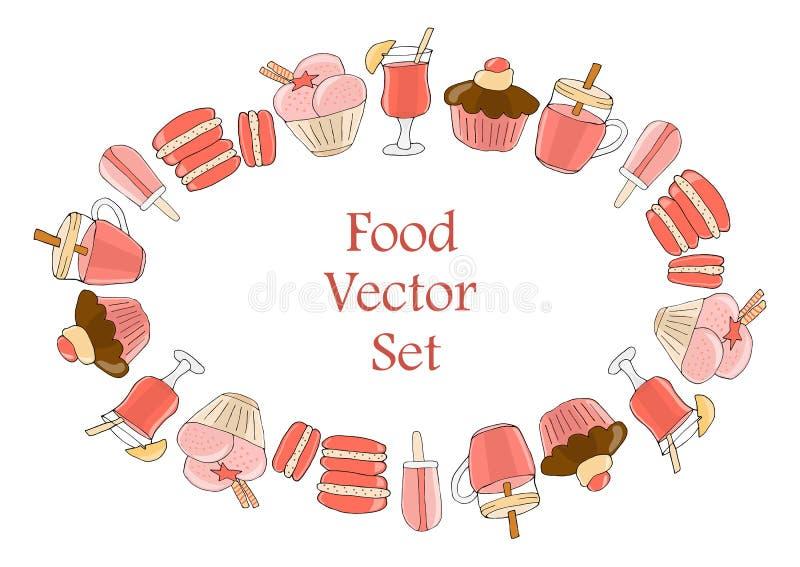 Set napoje, ciasta i cukierki, r ()- Wektor kartoteka ilustracja wektor