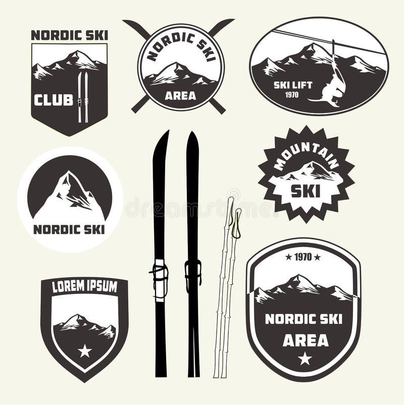 Set narciarstwo projekta elementy, odznaki, logo ilustracja wektor