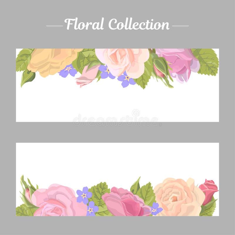 Set narrow floral horizontal border. Set narrow floral romantic horizontal border with rose on white background. Delicate flower, buds, leaves, roses, banner for stock illustration