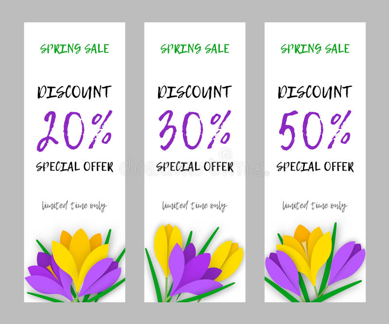 Set narrow flower applique banner paper flowers crocuses. Set vertical narrow spring banner applique with colored paper flowers and an inscription discount for royalty free illustration