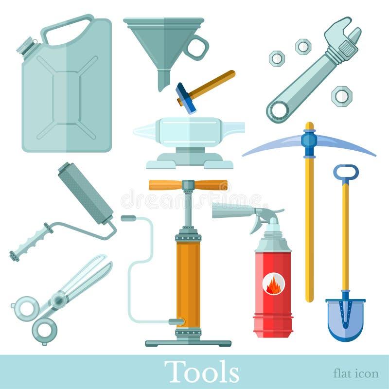 Set narzędzia i equipments płaskie ikony na bielu platen, nożyce, kowadło, kanister, lej, oskard, łopata, pompa, wyrwanie ilustracja wektor