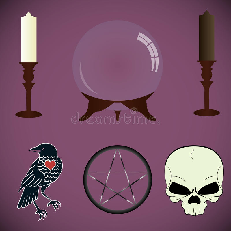 set narzędzie kabaliści, czarownicy ilustracja wektor
