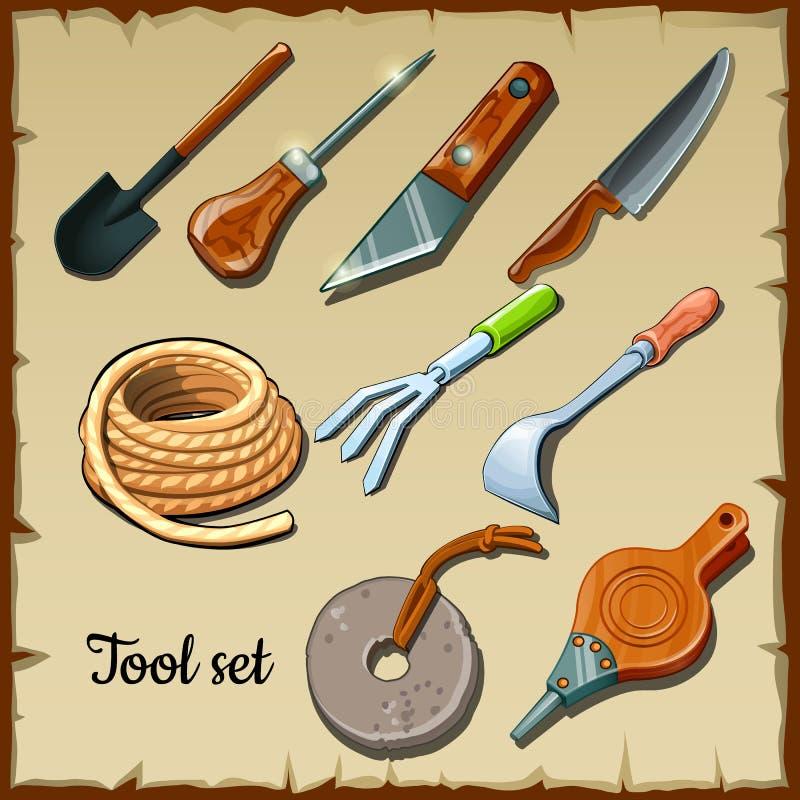 Set narzędzie ogrodniczki na pergaminowym papierze ilustracji