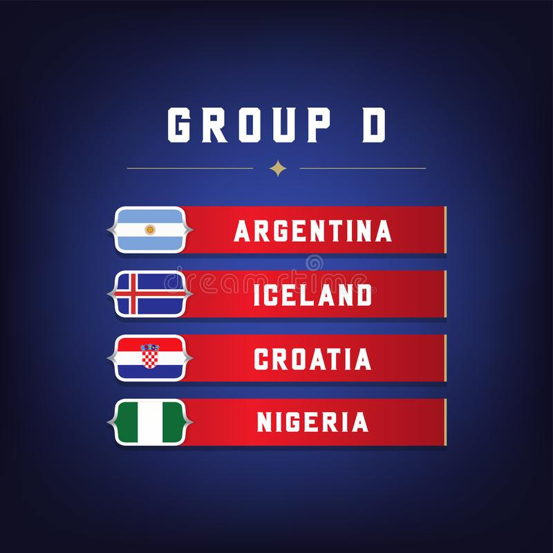 Set of National Flags. Football Championship Groups D. World Soccer Tournament. vector illustration