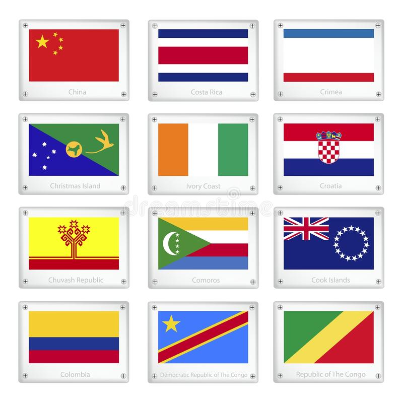 A Set of National Flags on Metal Texture Plates stock illustration