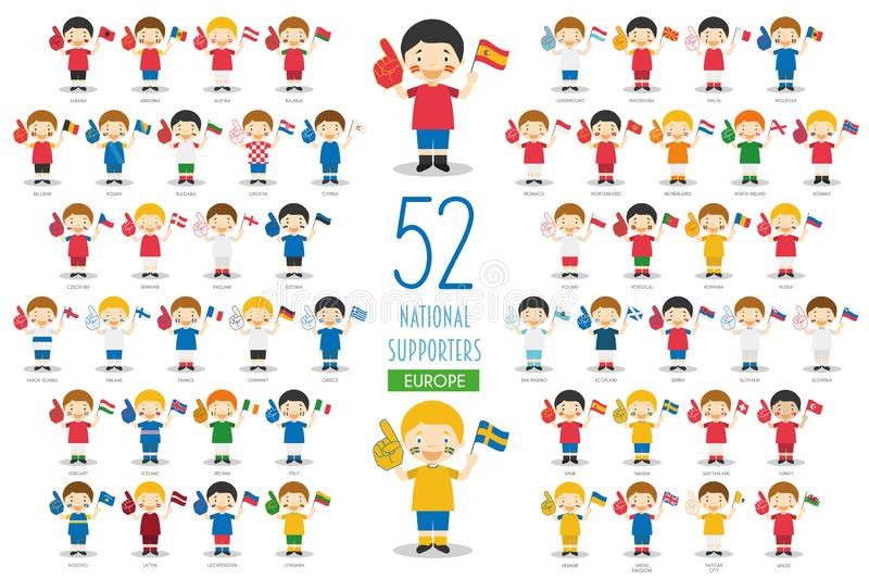 Set of 52 national sport team fans from European countries Vector Illustration. National Supporters Collection royalty free illustration