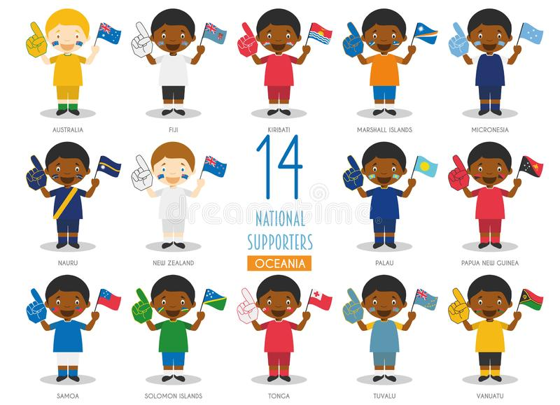 Set of 14 national sport team fans from Oceanic countries Vector Illustration. National Supporters Collection stock illustration