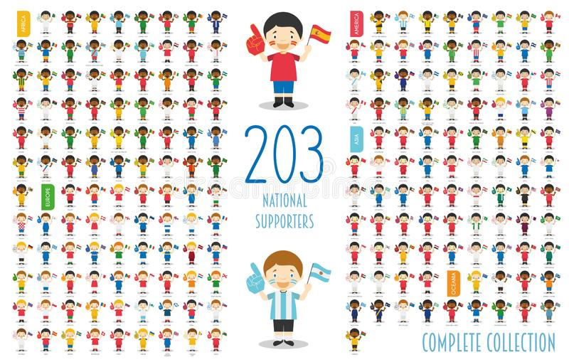 Set of 203 national sport team supporters from all over the world Vector Illustration royalty free illustration