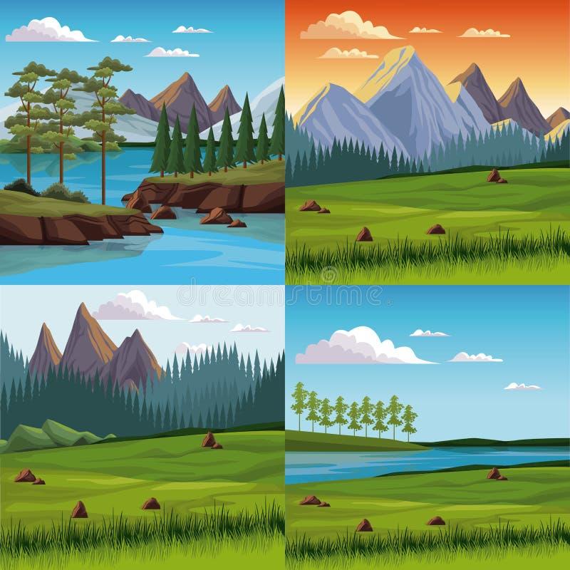 Set natura krajobrazy ilustracja wektor