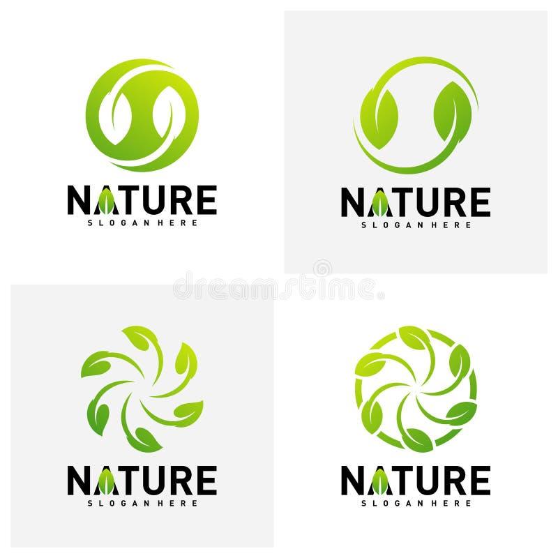 Set natura liścia zieleni logo projekta pojęcia Środowisko logo szablonu wektor Ikona symbol royalty ilustracja