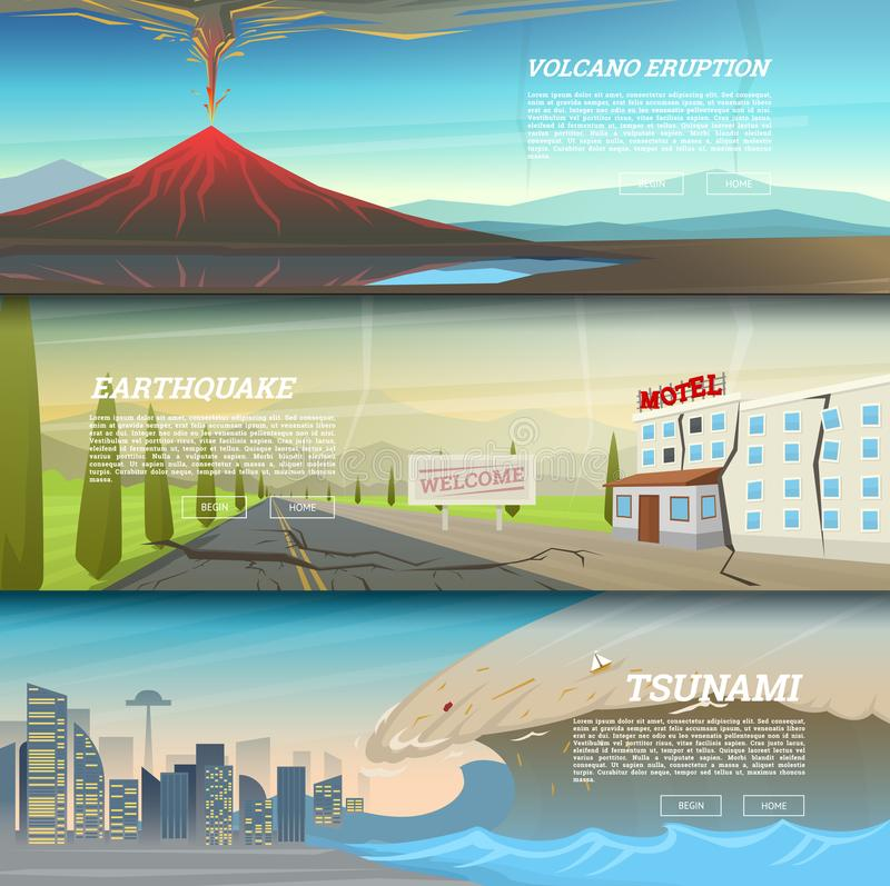 Set of natural disaster or cataclysms. Catastrophe and crisis Background. Realistic Tornado or storm, Lightning Strike royalty free illustration