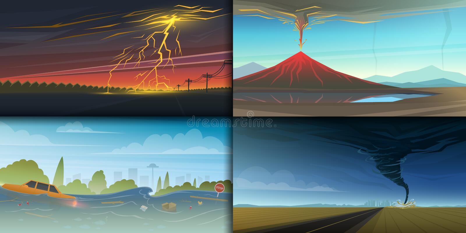 Set of natural disaster or cataclysms. Catastrophe and crisis Background. Realistic Tornado or storm, Lightning Strike stock illustration