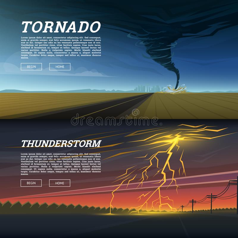 Set of natural disaster or cataclysms. Catastrophe and crisis Background. Realistic Tornado or storm, Lightning Strike vector illustration