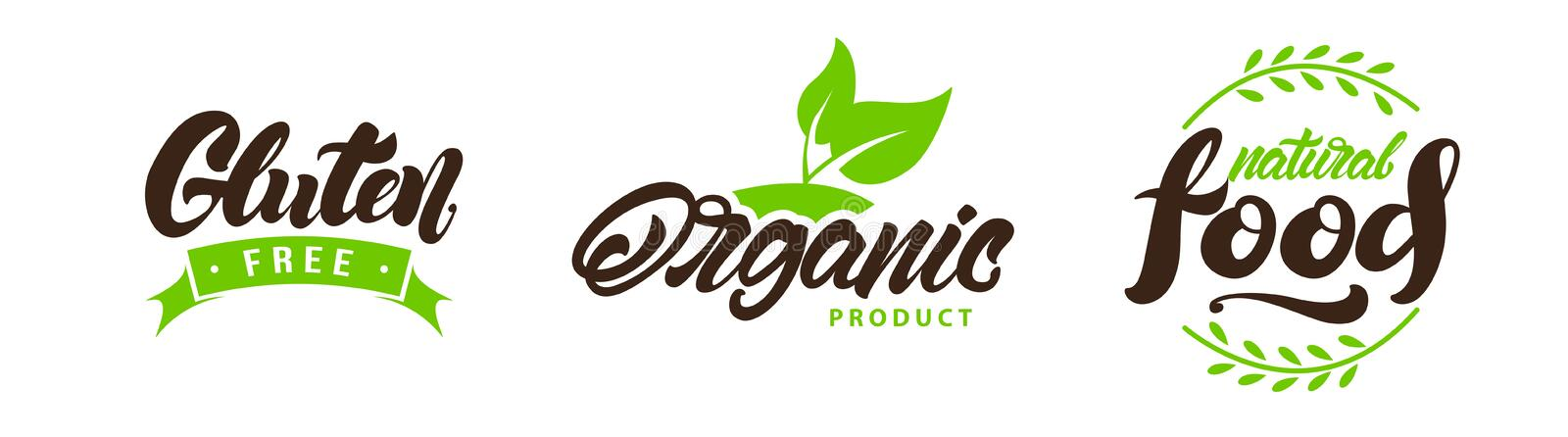 Set of natural eco labels , logos. Vegan, Bio, gluten in lettering style. Vector royalty free illustration