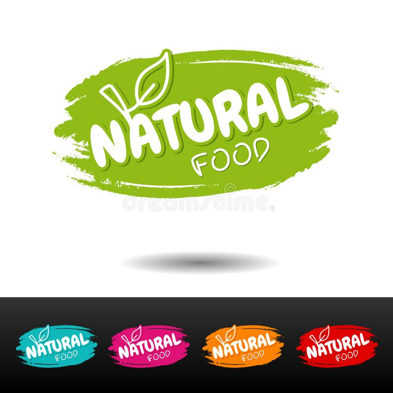 Set of Natural food badges. Vector hand drawn labels. stock illustration