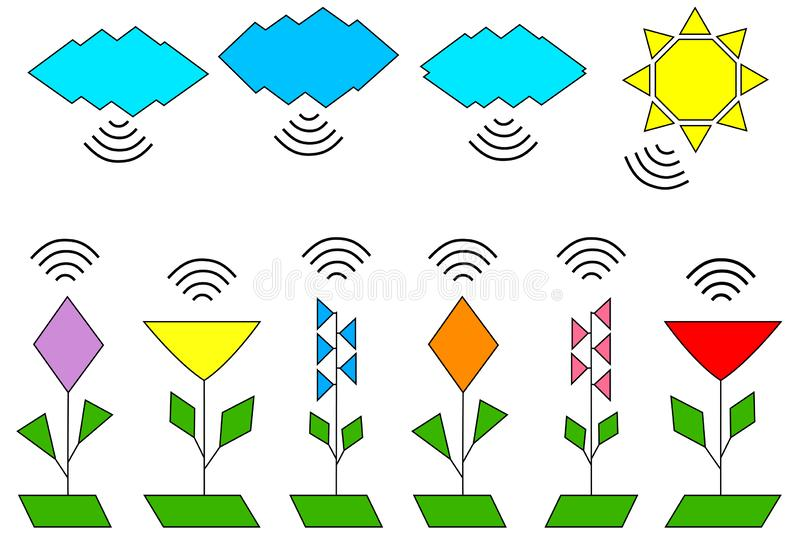 Set of natural objects emitting Wi-Fi, flowers, clouds, sun vector illustration