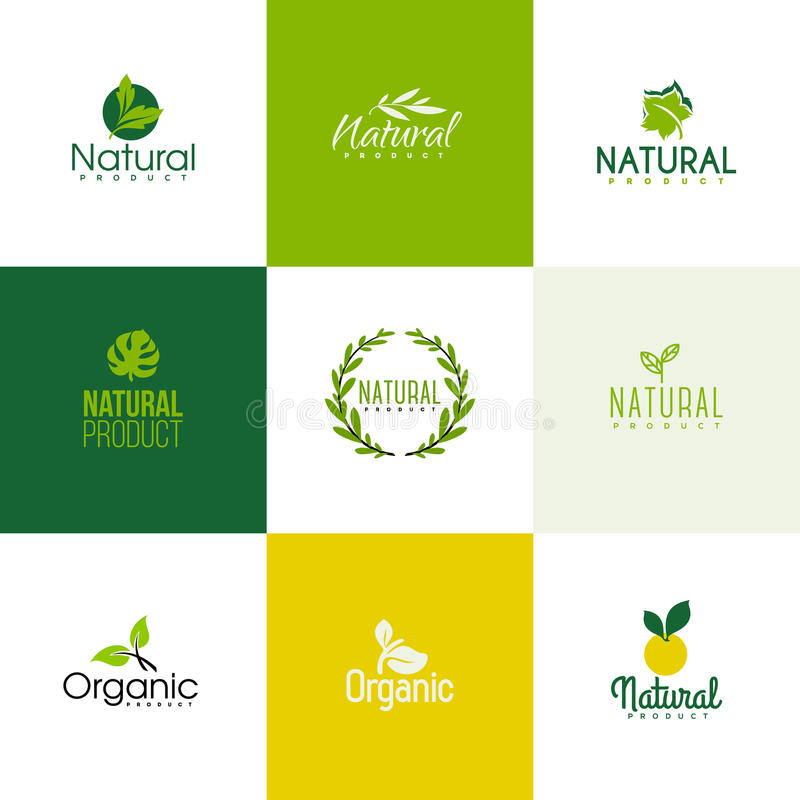 Set of natural and organic products logo templates, icons. Set of natural and organic products logo templates. Icons of leaves and branches stock illustration