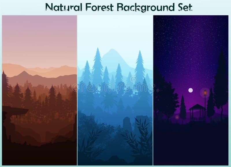 Set Natural Pine forest mountains horizon Landscape wallpaper Set Sunrise and sunset Light moon Illustration vector style royalty free illustration