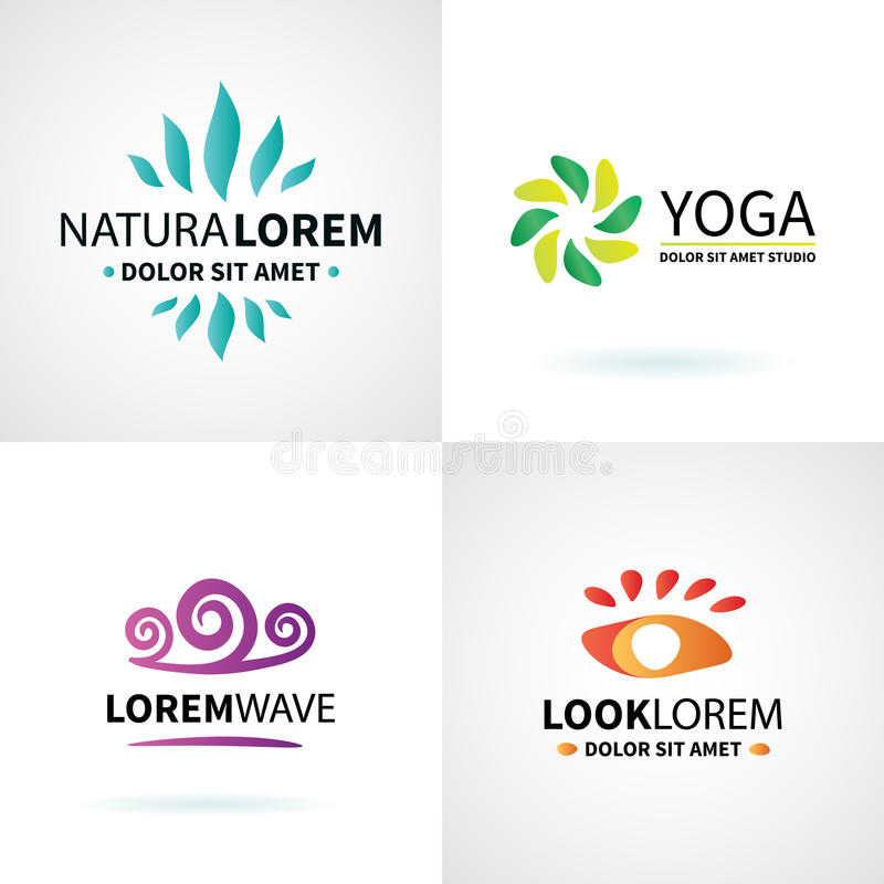 Set of natural spa yoga wellness meditation vector illustration