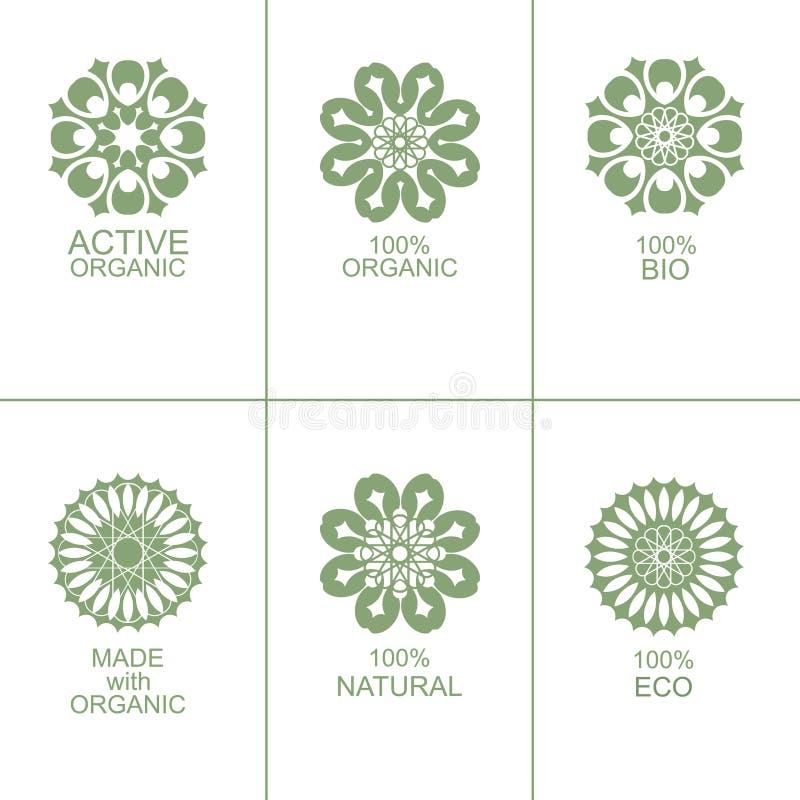 Set naturalne organicznie eco odznaki, etykietki i ilustracji